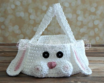 Crochet chubby cheeks Easter bunny basket, character basket, Easter, white rabbit