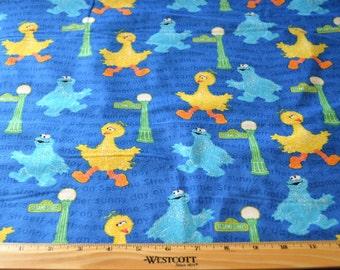 SESAME STREET FABRIC / 1/2 Yard  - Flannel / Big Bird - Cookie Monster - Blue