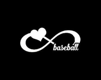 Baseball Infinity Heart - Vinyl Decal Sticker - Love