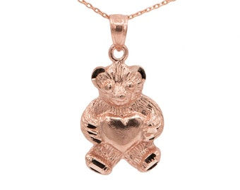 10k Rose Gold Teddy Bear Necklace