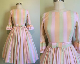 1950s Dress • 1950s striped dress