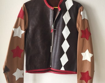 Nice Short Vintage Black&Brown Genuine Soft Leather Jacket Men's Size Small.