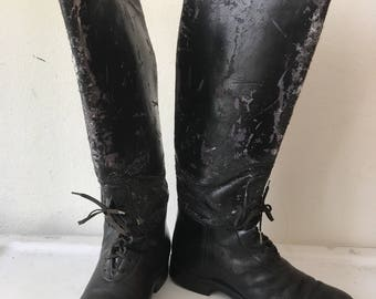 Police style boots real leather shabby durable&heavy leather boots strong and rigid long old boots vintage retro men's black size - 8 1/2-9.
