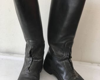 Really police style boots real leather durable & heavy leather boots strong and rigid long boots vintage retro men's black size - 10-10 1/2.