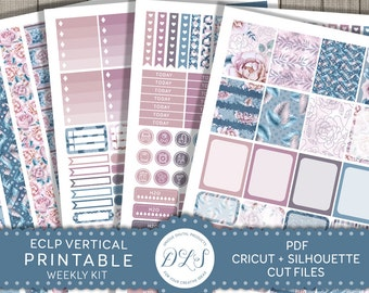 Erin Condren Vertical Planner Stickers Weekly Planner Kit ECLP Printable Stickers Winter Planner Pastel Stickers Cut File VS121