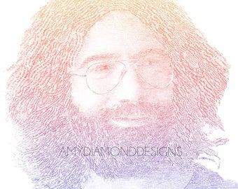 Jerry Garcia, Jerry Garcia Art, Jerry Garcia Poster, Lyric Poster, Typographic Portrait, Wall Art, Deadhead, Grateful Dead Wall Art