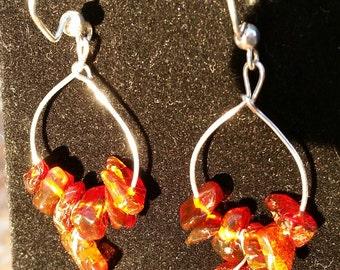 Natural Baltic Amber Earrings, Dangling Baltic Amber Earrings