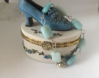 Green Amazonite bracelet on handmade 925 silver links, magnetic clasp in luxury ceramic gift/trinket box