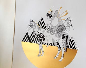 The rider - drawing in limited edition with gilding hot limited edition - Limited Edition