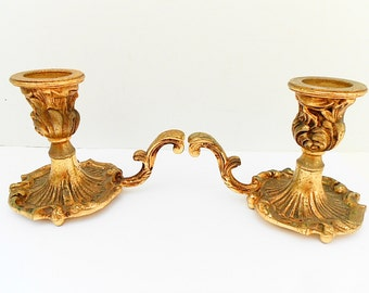 Pair of French Vintage Louis XV Style Gilt Bronze Candle Holders (C253)