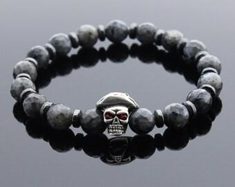 Mens Labradorite Bracelet, Hematite Bracelet, Gemstone Skull Bracelet, Beaded Bracelet, Mens Gift, Bracelet for Men, Gift for Men, Gift