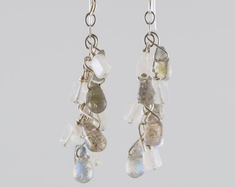 Moonstone and labradorite sterling earrings