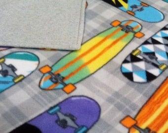 Fleece Throw Blanket-Skateboards-Travel Blanket-Lap Blanket-53x60-Teen-Double Layered-Sports-Gray-Purple-Blue-Home Decor-Birthday-Graduation