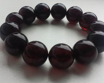 1 Natural Baltic amber bracelet, dark cherry colour