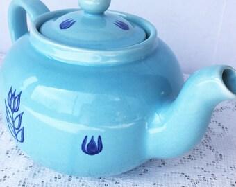 Cronin Blue Tulip Pattern TeaPot Mid Century