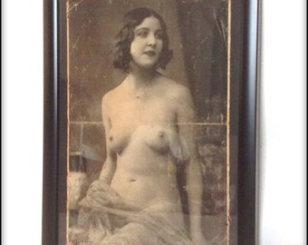 Aged reproduction Victorian erotic glamour print in frame.