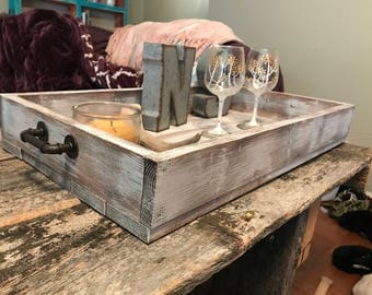 Rustic wood tray, kitchen tray, farmhouse tray