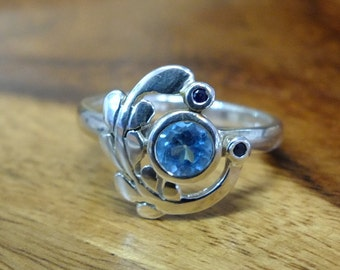 Blue topaz Blue Sapphire silver ring