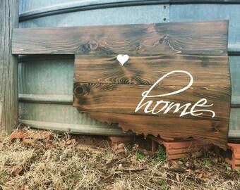 Oklahoma Home State Shape Cutout Painted Wood Wall Art Sign