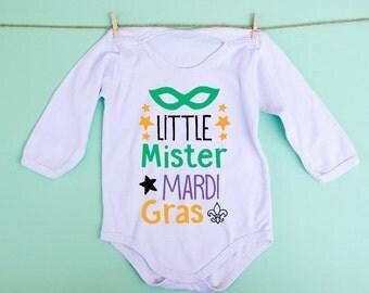 Little Mister Mardi Gras! Mardi gras onesie, mardi gras shirt, cute mardi gras for kids, new orleans onesie, mardi gras parade shirt