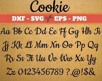 COOKIE Script SVG, Handwriting Font, Retro Script Monogram Svg, Dxf, Eps, Png; Fancy Script, Cursive SVG Font, Silhouette Files, Cricut