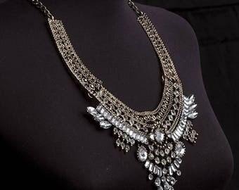 Ethnic Tribal Necklace Boho necklace Bohemian necklace ''BOHO NECKLACE'' chunky crystal statement necklace Oriental jewelry bohemian jewelry