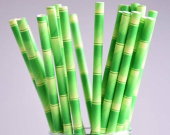 Green Bamboo Look Paper Straws Pk of 25 / Green Tropical Party Straws / Bridal Shower / Baby Shower / Wedding