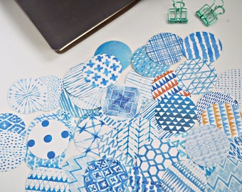 45 pcs Blue Watercolour Paint Planner Stickers, Decorative Stickers - STK132