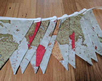 Map fabric bunting etsy modern fabric bunting wedding banner baby shower flag garland double sided flags world gumiabroncs Images