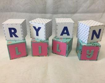 Custom Decorative Wood Name Blocks Alphabet Baby Nursery Kids Surname