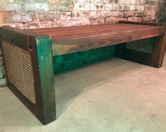 Mid-Century Pine Waiting Room Lobby Bench Caned Sides