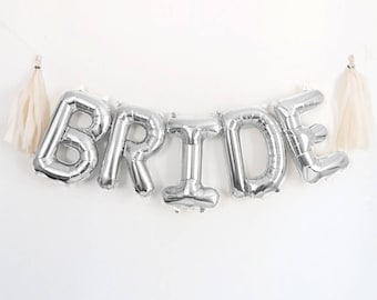 "BRIDE Letter Balloons | 16"" Silver Letter Balloons 