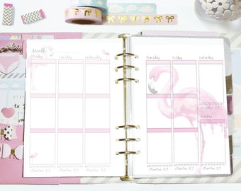 A5 Flamingo Planner Weekly Inserts - EC Vertical Printable - A5 or Kikki K Large size