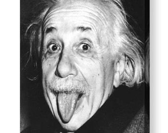 Albert Einstein Iconic Black & White Photo Canvas Box A4, A3, A2, A1