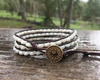 Leather Wrap Bracelet - Fresh Water Pearls