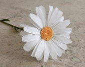 Crepe Paper Daisy, Single Stem - Wedding Flowers - Home or Office Decor - Florist Supply - Paper Flowers - First Anniversary Gift