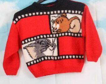 Pull enfant rouge tricoté main Motif Tom Jerry 5 ans
