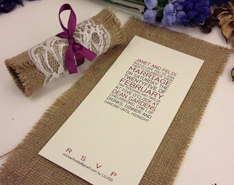 Rustic Lace Invitations, Burlap Wedding Invitations, Rolled Wedding Invitation, Wedding Invites Recycle, Invitation Cards, 1 INVITATION