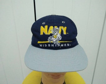 Rare Vintage NAVY MIDSHIPMEN Spell Out Big Logo Embroidered Cap Hat Free size fit all Made in USA