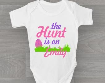Personalised The Hunt Is On! Girls Easter Baby Grow, Bodysuit Baby Onesie Vest New Arrival Gift.