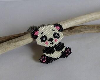 Woven necklace, beads, miuyki, Panda, Kawaii, black, white