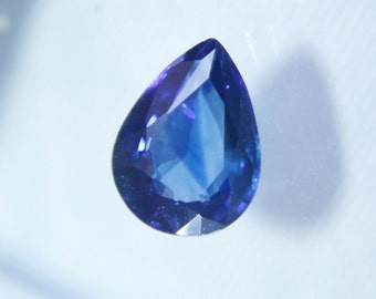 Ceylon Natural  Blue Sapphire Pear ( Drop ) Cut 1.00CT 7.2mm