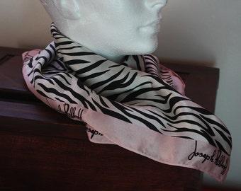 Joseph Ribkoff Zebra Print Silk Square Neck Scarf 1980s