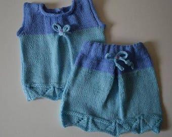 Sleeveless jacket + skirt: size 3/6 months lav in stocking
