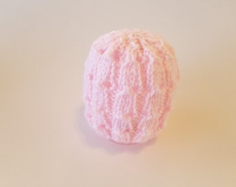 baby girl knitted hat, baby shower gift, 3-6 months old baby hat