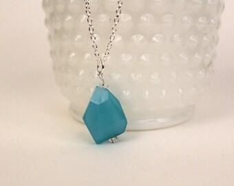 Aqua Semi-Precious Stone Pendant Necklace