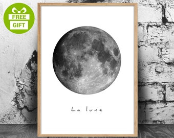 The Moon, Moon poster, Moon photo, Scandinavian poster, vintage Moon, Moon art, Moon print, Moon wall art, black and white