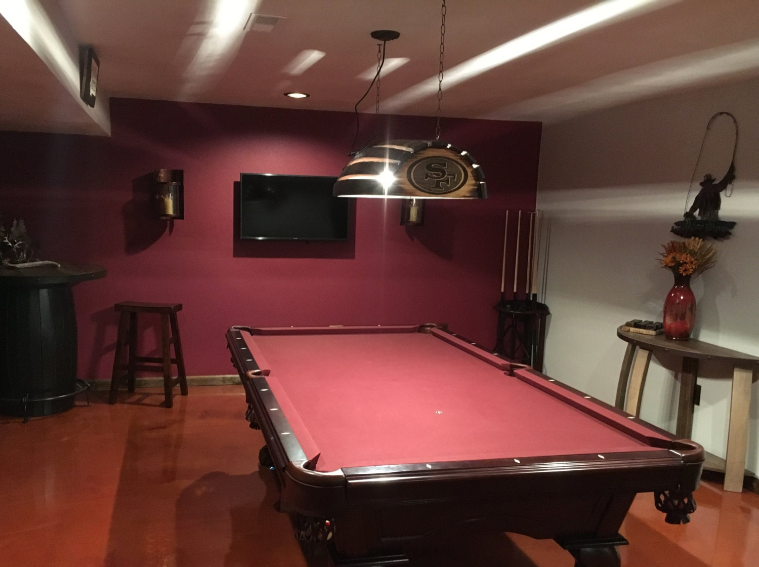 Whiskey barrel pool table bar billiards hanging light fixture whiskey barrel pool table bar billiards hanging light fixture rustic bourbon western oak wood stave customize it personalized arubaitofo Images