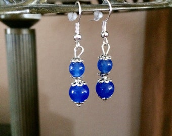 CalliopesCollections natural sapphire stone beads drop dangle earrings