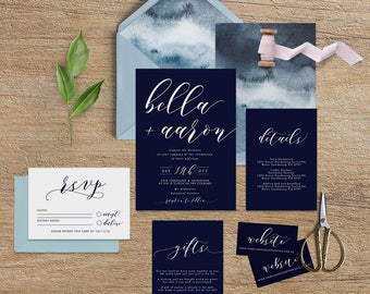 "Printable Wedding Invitation Suite ""Ocean"" - Printable DIY Invite, Affordable Wedding Invitation"